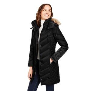 Kenneth Cole Faux Fur Hooded Down Puffer Coat